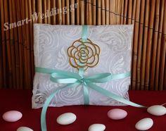 Μπομπονιέρα γάμου πουγκί - φάκελος με τριαντάφυλλο σε χρυσό χρώμα