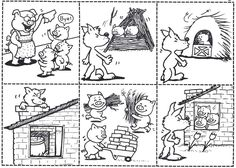 The three little pigs - De drie biggetjes story sequencing Three Little Pigs Houses, Three Little Pigs Story, Peppa Pig Coloring Pages, Coloring Pages For Boys, Coloring Sheets, Book Activities, Preschool Activities, 3 Little Pigs Activities, Fairy Tales Unit