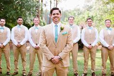 Sub in grey suits, and that's how my guy will look! Tan Tuxedo Wedding, Khaki Wedding, Wedding Ties, Wedding Groom, Wedding Attire, Teal Rustic Wedding, Wedding Hair, Bridal Hair, Groom And Groomsmen