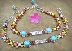 Beaded Stamped Anklet...