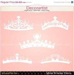 SALE princess clip art , tiara clip art , Silhouette Princess tiara clip art, princess,white tiara, INSTANT DOWNLOAD