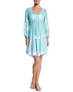 Royal Hawaiian Embroidered-Trim Sun Dress by Letarte at Bergdorf Goodman.