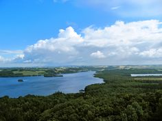 Beautiful view of Silkeborg Lakes from the top of Himmelbjerget