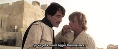easchechter:  thehappyfangirl:  oldmanyellsatcloud:  ohgodhesloose:  leupagus:  brendanadkins:  leiaorggana:  Deleted Tosche Station scene from A New Hope  uh  OK I have like mutliple questions  a) who dis  2) why does he look like mustacheod Mads Mikkelson  III) what is happen  ?) ARE THEY BOYFRIENDS?????  AHEM! dons his lore cape     This is Biggs Darklighter Lukes best buddy growing up on Tatooine. There was a big chunk of story cut from A New Hope where Luke looks up at the sky sees the Star Excited Puppy, Big Universe, Episode Iv, Star Destroyer, Star Wars Poster, A New Hope, Boyish, Rogues, Female Characters