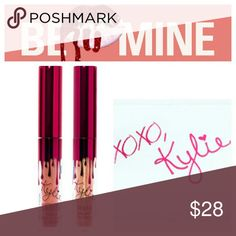 ❤ Kylie Cosmetics VALENTINE'S (2) MINIs NEW ❌PRICE IS FIRM, 🚫NO TRADES, DON'T ASK BRAND NEW AND 100% AUTHENTIC  JUST ORDERED 02/02 - COMING SOON   Matte Liquid Lipstick & Gloss  Together $25, each $13  🔹Dirty Peach (mid-tone yellow peach) 🔹Poppin' (shimmering gold gloss) Kylie Cosmetics Makeup Lipstick