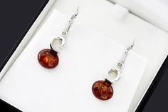 Sterling 925 Silver And Amber Earrings Baltic Amber Amber Earrings, Amber Jewelry, Gemstone Earrings, Silver Earrings, Dangle Earrings, Silver Pendants, Stone Pendants, Stone Bracelet, Stone Necklace