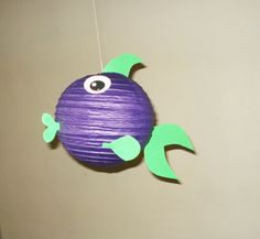 Purple fish Paper Lantern. Party Decorations by nicedecorations