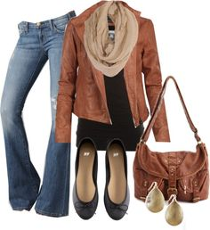 Cognac leather jacket + flared jeans + simple black top + scarf + accessories in the same color family as the jacket = yet another perfect outfit for a day out on the town.  All I would do is change out the flats for wedge heels, I think.