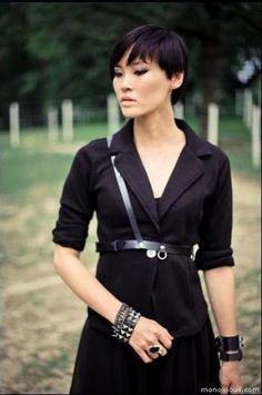 Raven Black Leather Harness Belt Slanted Strap. $69.00, via Etsy.