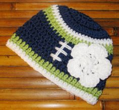 Seattle Seahawks Football Beanie with Bow or Flower. $14.99, via Etsy.
