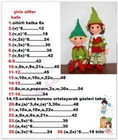 elf bebekler  - Açıklamalı Modellerimiz Crochet Snowman, Crochet Christmas Ornaments, Christmas Crafts, Amigurumi Doll, Amigurumi Patterns, Doll Patterns, Crochet Doll Pattern, Crochet Dolls, Crochet Patterns
