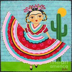 Frida Kahlo In Traditional Dress Print by LuLu Mypinkturtle