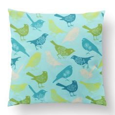 Custom Outdoor The Birds Cushion The Birds Item# Polyester Cover Polyester Fill Teal Custom Outdoor Cushions, Fill, Birds, Shapes, Throw Pillows, Texture, Cover, Prints, Design