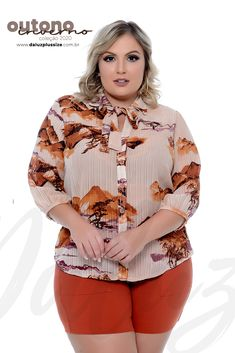 Camisa Plus Size Tanessa Plus Sise, Casual, Ruffle Blouse, Long Sleeve, Sleeves, Design, Women, Fashion, Plus Size Fall