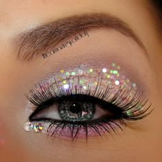 How to use sparkles on eyes. Enhance those lashes to make the sparkles less of a focus.