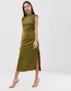233ed4352b ASOS DESIGN satin midi dress with drape armhole and side split