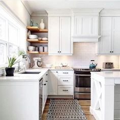 Corner shelves instead if cabinet for the Florida home kitchen reno