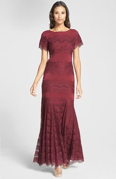 Jessica Simpson Short Sleeve Lace Gown available at #Nordstrom. I. Want. This.