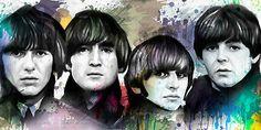 BEATLES John Lennon Paul McCartney painting CANVAS ART GICLEE PRINT #B