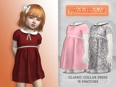 Classic Collar Dress - TØMMERAAS - f toddler - custom thumbnails for each swatch - 15 swatches - new mesh - all LODs - all maps - HQ compatible please do not repost anywhere, thanks (tusen takk)! Sims 4 Toddler Clothes, Sims 4 Cc Kids Clothing, Sims 4 Mods Clothes, Toddler Outfits, Sims 4 Game Mods, Sims Mods, The Sims 4 Pc, Sims Cc, The Sims 4 Bebes