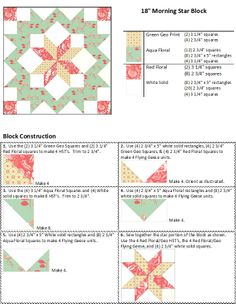 Sew Block Quilt SuperSized Morning Star Block directions for cutting size and block assembly. Big Block Quilts, Star Quilt Blocks, Star Quilt Patterns, Star Quilts, Mini Quilts, Pattern Blocks, Quilting Tutorials, Quilting Projects, Quilting Designs