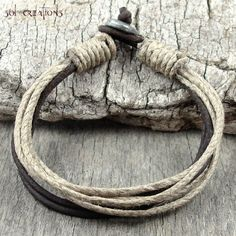 Mens Leather Bracelet Hemp Cord Brown Surfer Cuff Earthy Eco Surf Natural Sol 1