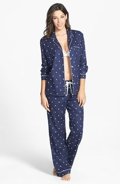 Navy Polka dots, M, Nordstrom Cotton Twill Pajamas available at #Nordstrom