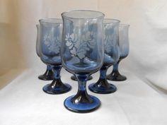 Vintage Pfaltzgraff Yorktowne Etched Stemmed Wine Glasses USA ...