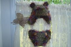 Baby Teddy Bear Photo Prop set crocheted by GrandmasHeartStrings, $25.00