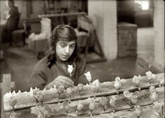 CHILD LABOR: Sadie Singer: Boston, January Sadie Singer, 15 years old, racking flowers at the Boston Floral Supply Co. Said to be the only flower factory in Massachusetts. Photograph by Lewis Wickes Hine. Labor Photos, Cambridge Street, Flower Factory, Lewis Hine, Labor Union, Floral Supplies, American Life, Industrial Revolution, Arte Floral
