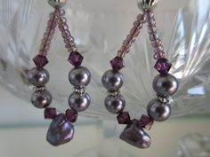 Handmade For You Lavender and Purple Pearl Hoops Earrings, Swarovski Crystal, Natural Glass Pearls, Czech Glass Peacock Beads Silver E152 by JewelsHandmadeForYou on Etsy