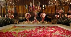 Preston Bailey Four Seasons Restaurant NYC Wedding Reception candles floral sculptures flowers hanging lights tall centerpiece color Preston Bailey Wedding, Wedding Table, Wedding Reception, Wedding Bells, Diy Wedding, Jeff Leatham, Seasons Restaurant, Table Haute, Floating Flowers