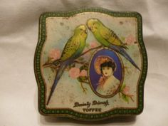 VINTAGE 1920'S DAINTY DINAH SWEET TIN by HORNER & Co, with bird & lady decor....