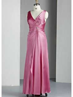39952f11a40 Charmeuse V-neck Gathered Bodice Long Special Occasion Dress Satin