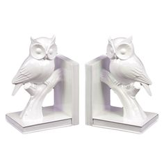 White Ceramic Owl Bookends (Set of 2) | Overstock.com Shopping - Great Deals on Urban Trends Collection Accent Pieces