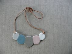 """handmade porcelain """"marshmallow"""" necklace $30 AUD from andODesign on Etsy"""