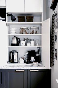 New kitchen corner nook appliance garage Ideas Kitchen Corner, Kitchen Pantry, New Kitchen, Corner Cupboard, Kitchen Modern, Corner Pantry, 10x10 Kitchen, Cupboard Storage, Kitchen Cabinets