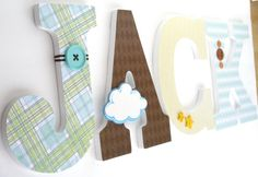Custom Decorated Wooden Letters STARS & CLOUDS Theme by LetterLuxe, $25.00