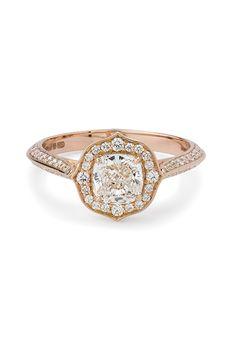 "Brides.com: . ""Deco"" rose gold engagement ring, price upon request, Stephen Webster for Forevermark"