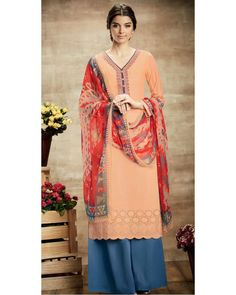 Peach Soft Cotton Salwar Suit