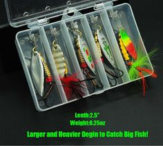 10pcs Fishing Lure Spinnerbait ,Bass Trout Salmon Hard Metal Spinner baits kit with 2 Tackle Boxes by Tbuymax: http://amzn.to/2trYcWM