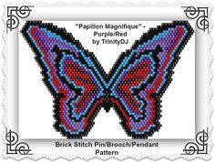 "BP-AN-045 - ""Papillon Magnifique"" - Brick stitch - Pin/Brooch/Pendant Beadwork Pattern, eed bead jewelry,beadweaving tutorial,beaded jewelry"