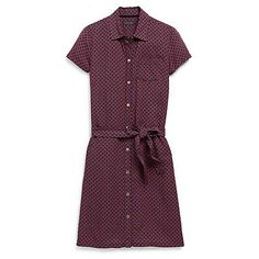 Tommy Hilfiger women's dress. A mini foulard evolves our classic shirtdress into something a little more demure. The perfect work staple that can be worn year round with the addition of tights and a blazer or cardigan. Styled in fabric that looks and feels like silk (with none of the added maintenance). <br>• Classic fit.<br>• 100% rayon.<br>• Removable self belt, gold-toned buttons down placket, pocket on chest.<br>• Machine washable.<br>• ...