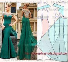 Para ocasiões especiais esta opção de vestido de festa com cauda é belíssimo. Faça o molde seguindo o passo a passo. Este trabalho foi feito com rigor...