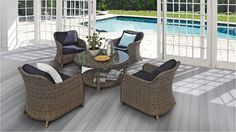 Create a luxuriously comfortable outdoor area with the Rydal 5 Piece Round Mid Dining Setting. Ideal for those long afternoons lazing in the sun, this suite will help you make the most of the warmer weather. Outdoor Living, Outdoor Lounge, Outdoor Decor, Lounges, Dining Set, Outdoor Furniture Sets, Norman, Outdoors, Bathroom