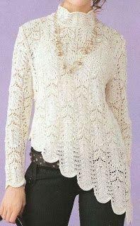 Free knitting pattern for Lacy Knitting Designs, Knitting Patterns Free, Knit Patterns, Free Pattern, Pull Crochet, Free Crochet, Crochet Top, Crochet Capas, Knit Fashion