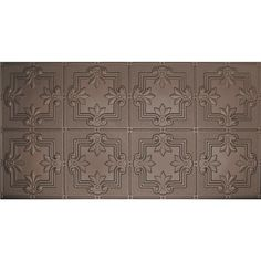 Global Specialty Products Glue-Up Fleur De Lis Pattern x Tin Ceiling Tile in Bronze Ceiling Grid, Black Ceiling, Tin Tiles, Wall Tiles, Plastic Ceiling Tiles, Metallic Spray Paint, Metal Panels, Bronze, Cover