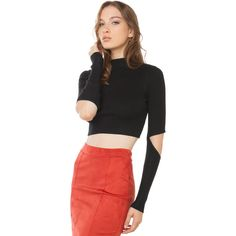 AKIRA Black Label Cut To It Sweater - Black ($35) ❤ liked on Polyvore featuring tops, sweaters, black, cut out sweater, ribbed crop top, loose sweater, cut out crop top and black ribbed sweater