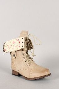 Wild Diva Lounge Jetta-25R Floral Cuff Military Lace Up Boot $38.90