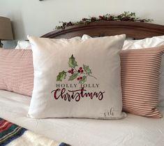 Farmhouse Christmas Pillow Cover | Holly Jolly Christmas | Christmas Decor | Farmhouse Christmas Decor | Rustic Christmas Decor